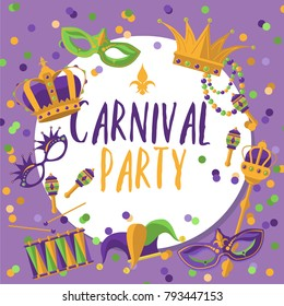 Mardi gras carnival party poster with roots, masks, beads, funny glasses, scepter and confetti