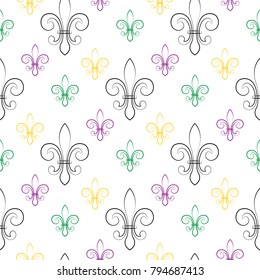 Mardi Gras Carnival seamless pattern with fleur-de-lis. Mardi Gras endless background, texture, wrapper. Vector illustration.