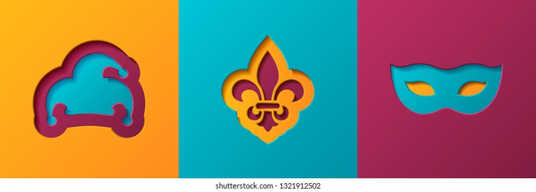 Mardi gras carnival set greeting cards, posters, flaers. Paper cut style.