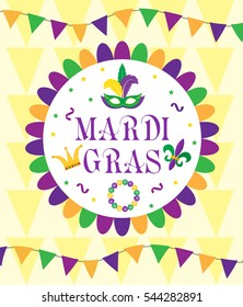Mardi Gras Carnival, template greeting card, poster, flyer, frame for text. Vector illustration