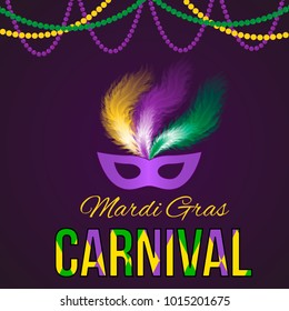 Mardi Gras carnival vector illustration with mask on dark background. Easy to edit template for your design projects.
