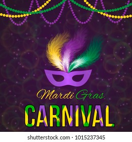 Mardi Gras carnival vector illustration with mask on dark bright background. Easy to edit design template for your design projects.