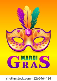 Mardi gras or carnivale mask with feathers. Beautiful Mardi gras concept design for poster, greeting card, party invitation, banner or flyer. Vector Illustration. Mardi gras background