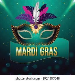 Mardi gras celebration with golden mask