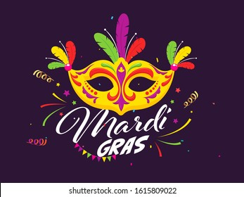 Mardi Gras Celebration Poster Design with Colorful Party Mask and Confetti Decorated on Purple Background.