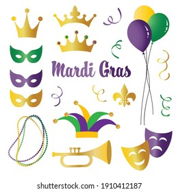 Mardi Gras celebration vector icons