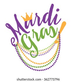 Mardi Gras cheerful text with beads flat design. EPS 10 vector