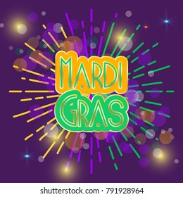 MArdi Gras circle text designwith abstract.Bokeh, stars and lights in purple background. Vector illustrator. EPS 10