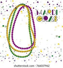 mardi gras colorful background with necklaces and confetti