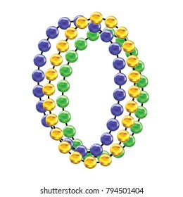 Mardi gras colorful beads, Fat tusday decoration tamplate vector illustration isolated on white background.