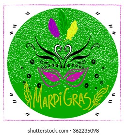 Mardi Gras colorful mask and lettering