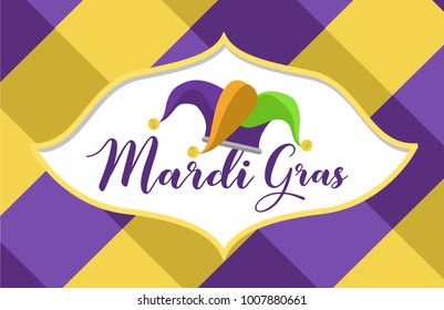 Mardi Gras Crown, carnival flat illustration. Poster party decorations. Vector illustration, clip art