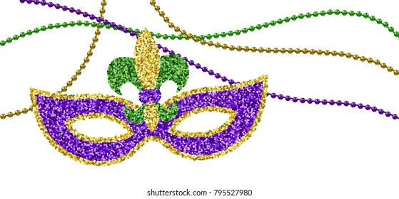 Mardi Gras decoration with beads and mask