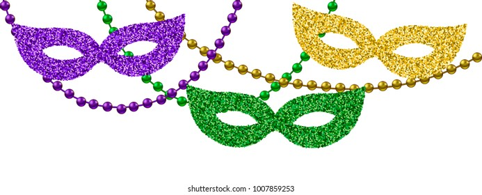 Mardi Gras decoration with beads and masks