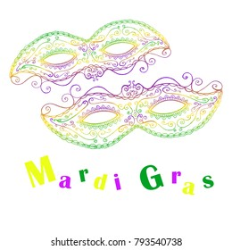 Mardi Gras decorative celebratory two masks, isolated on white background, doodle style. Vector hand drawn bright colored carnival mask card.