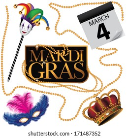 Mardi Gras design element collection. EPS 10 vector, grouped for easy editing. No open shapes or paths.