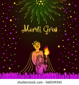 Mardi Gras design element, Fat Tusday invitation card template with King and Queen of Carnival