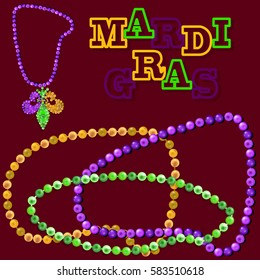Mardi Gras elements. Realistic carnival sign. Realistic beads. Design elements in your Projects. Caption Mardi Gras. Vector. Abstract.