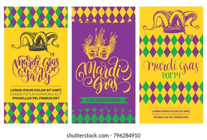 Mardi Gras flyers set. Vector hand lettering for Shrove Tuesday posters, invitations, greeting cards. Carnival background with jester hat, mask illustrations.
