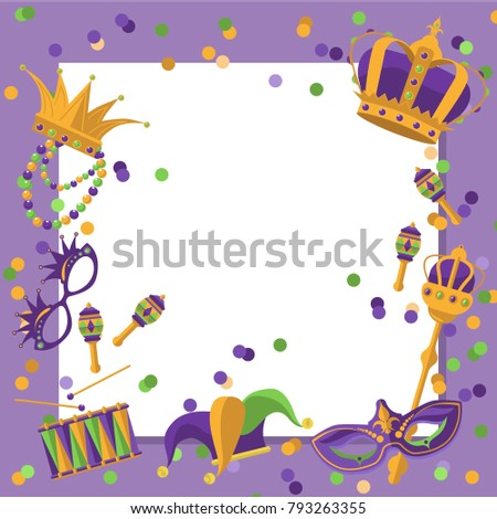 Mardi Gras Frame Template Space Text Stock Vector (Royalty Free ...