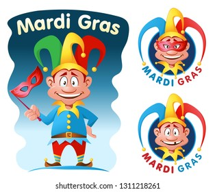 Mardi gras. Funny jester holding a mask. Cartoon styled vector illustration. Elements is grouped. On white and dark background.