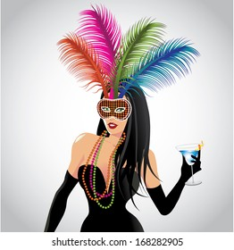 Mardi Gras girl. EPS 10 vector, grouped for easy editing. No open shapes or paths.