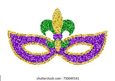 Mardi Gras glitter mask with fleur-de-lis isolated on white
