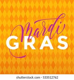 Mardi Gras gold glitter calligraphy harlequin yellow pattern background. Masquerade carnival lettering. Australian Mardi Gras parade, American New Orleans Louisiana Fat Tuesday celebration poster