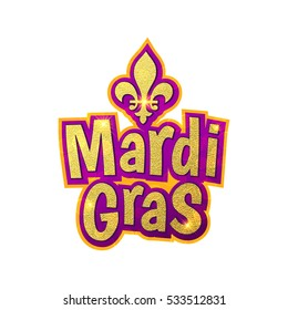 Mardi Gras gold glitter text with sparkles. Fleur-de-Lis lily symbol for masquerade carnival. American New Orleans Fat Tuesday celebration poster greeting card. Australian Mardi Gras parade