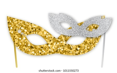 Mardi Gras gold and silver glitter masks isolated on white background, vector illustration. Realistic sparkling mask, graphic design elements for banners, flyers, party invitations.