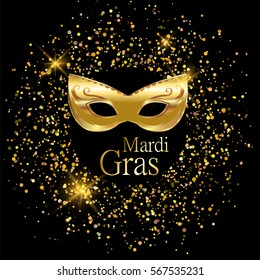 Mardi Gras golden carnival mask with ornaments for poster, greeting card, party invitation, banner or flyer on black background with golden sand. Happy Mardi Gras.  Masquerade vector Illustration.