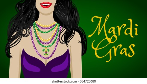 Mardi Gras greeting card with woman in purple dress and colorful beads