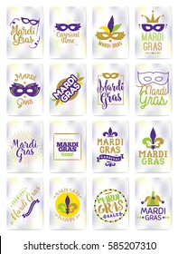 Mardi Gras greeting cards set. Vector typography, logo with text. Usable as banners, flyers and posters. Fat tuesday, carnival. Isolated elements.