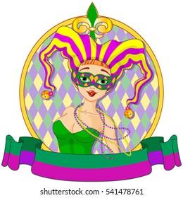 Mardi Gras harlequin lady design