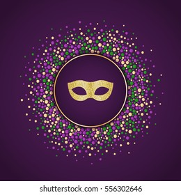 Mardi Gras holiday background. Round dotted frame with golden glitter mask. Vector template suitable for greeting cards, invitations, posters, prints. EPS10.