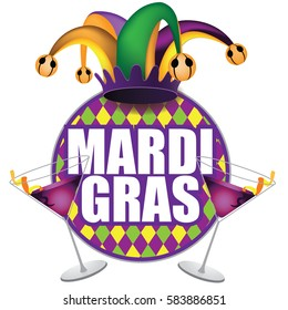 Mardi Gras icon design. For your holiday celebration at a bar, restaurant, nightclub or other venue. EPS 10 vector.