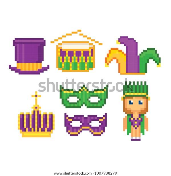 Mardi Gras Icons Set Pixel Art Stock Vector Royalty Free