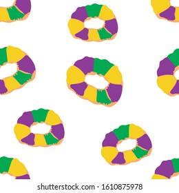 mardi gras King cake seamless pattern. Vector illustration.