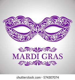 Mardi gras lettering. Congratulation card with mask. Vector illustration