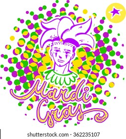 Mardi Gras Lettering and Harlequin on halftone background