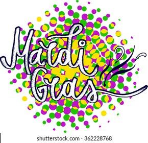Mardi Gras Lettering on halftone background.