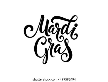 Mardi Gras Lettering with Swirl Elements