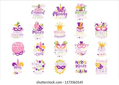 Mardi Gras logo set original design, hand drawn colorful vector Illustrations