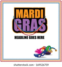 Mardi Gras marketing template. EPS 10 vector, grouped for easy editing. No open shapes or paths.