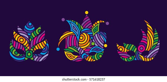 Mardi gras mask. Bright colors vector carnival mask. Object for greeting cards. Mardi gras, carnival set.