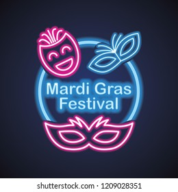 mardi gras for mask carnival with neon light effect. vector illustration