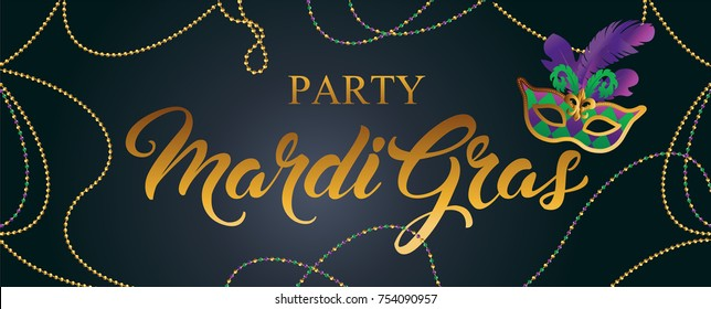 Mardi Gras mask, colorful poster, banner template. Vector illustration.