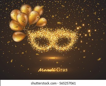 Mardi Gras mask from gold glitter with blur effect balloons and confetti. Venetian carnival mask. Vector illustration.