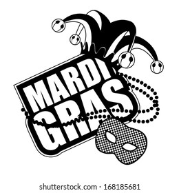 Mardi Gras Mask Icon in black and white. EPS 10 vector, grouped for easy editing. No open shapes or paths.