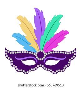 Mardi Gras mask, isolated on white background. Icon vector